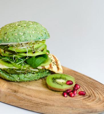 Hamburguesa de kiwi y verduras