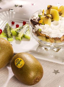 Becher mit Ricotta-Schokolade-Kiwi-Creme