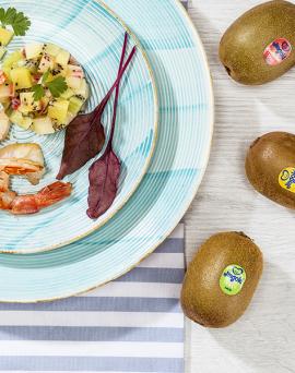 Salade de crevettes et tartare de kiwi