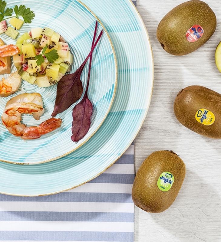 Salada de camarão e tartare de kiwi