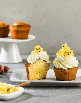Cupcake vegan aux noisettes et kiwis