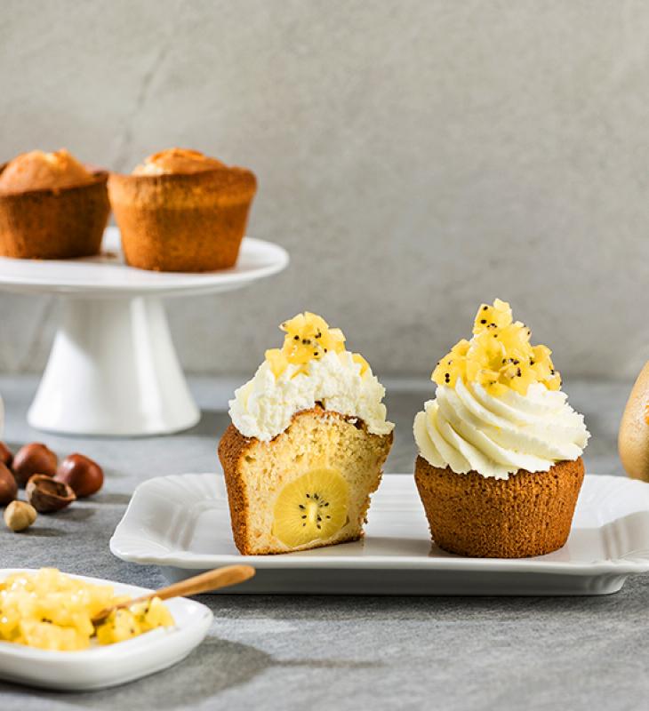 Cupcake vegano de avelãs e kiwi
