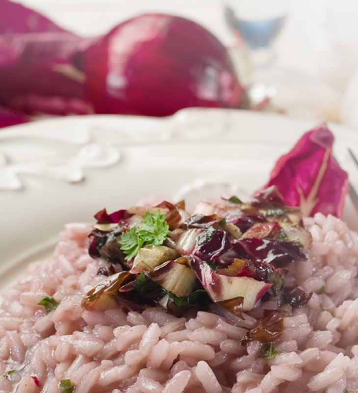 Risotto with radicchio and kiwi